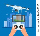 drone with remote control... | Shutterstock .eps vector #546662515