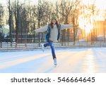 beautiful girl having fun in... | Shutterstock . vector #546664645