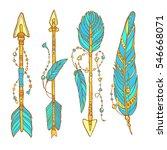 vector doodle bow arrows set... | Shutterstock .eps vector #546668071