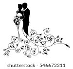 a bride and groom wedding... | Shutterstock .eps vector #546672211