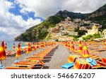 view on beach in positano on... | Shutterstock . vector #546676207