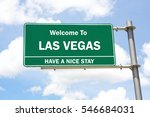 green overhead road sign with a ... | Shutterstock . vector #546684031
