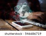 women work on laptop with...   Shutterstock . vector #546686719