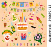 happy birthday symbols vector. | Shutterstock .eps vector #546693415