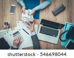 business woman giving packs of... | Shutterstock . vector #546698044