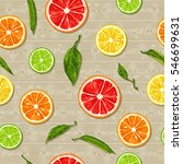 seamless pattern with citrus... | Shutterstock .eps vector #546699631