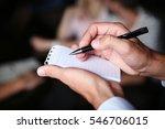 waiter writing an order into a... | Shutterstock . vector #546706015