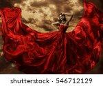 woman dancing in red dress ... | Shutterstock . vector #546712129