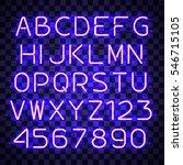 glowing blue neon alphabet with ... | Shutterstock .eps vector #546715105