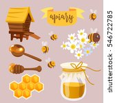 collection of honey related... | Shutterstock .eps vector #546722785