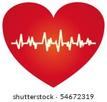 The cardiograms against red heart - stock vector