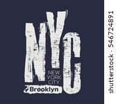 Vector illustration on the theme of New York City, Brooklyn.  Grunge background. Typography, t-shirt graphics, poster, banner, flyer, print and postcard