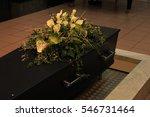 wooden casket with funeral...   Shutterstock . vector #546731464