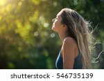 beautiful blond teenager... | Shutterstock . vector #546735139