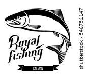 salmon fish black outline... | Shutterstock .eps vector #546751147