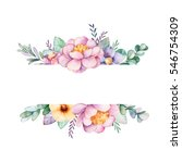 beautiful watercolor border... | Shutterstock . vector #546754309