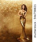 woman gold dress  fashion model ... | Shutterstock . vector #546758821