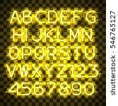 glowing yellow neon alphabet... | Shutterstock .eps vector #546765127
