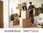 couple packing stuff among... | Shutterstock . vector #546772111