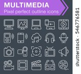 set of thin line multimedia...