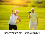 elderly woman doing exercise.... | Shutterstock . vector #546780391