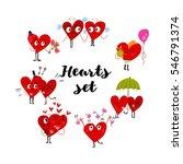 cartoon heart collection set of ... | Shutterstock .eps vector #546791374