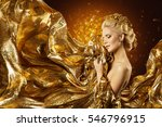 fashion model gold fabric ... | Shutterstock . vector #546796915