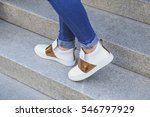 stylish casual shoes. legs of a ...   Shutterstock . vector #546797929
