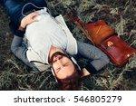 relaxed man listening to music... | Shutterstock . vector #546805279
