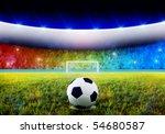 soccer ball on penalty disk in...   Shutterstock . vector #54680587