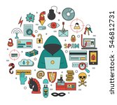 hacking and cyber crime   flat... | Shutterstock .eps vector #546812731