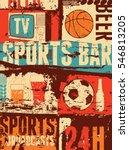 Sports Bar Typographic Vintage...