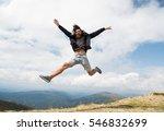 handsome man hipster traveler... | Shutterstock . vector #546832699
