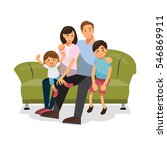 family together on the sofa | Shutterstock .eps vector #546869911