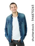 Small photo of young happy casual man portrait, isolated on white