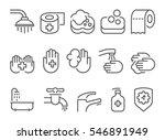 hygiene line icons set | Shutterstock .eps vector #546891949