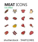 simple modern set of meat icons.... | Shutterstock .eps vector #546912481