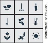 set of 9 editable gardening...