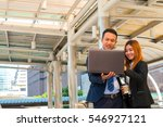 businesspeople using laptop for ... | Shutterstock . vector #546927121