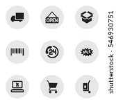 set of 9 editable trade icons....
