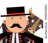 selfie cartoon matador with a... | Shutterstock .eps vector #546945001