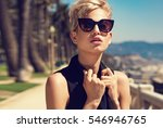 beautiful fashionable young... | Shutterstock . vector #546946765