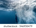free diver ascending from the... | Shutterstock . vector #546950479