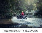 woman on the atv quad bike on... | Shutterstock . vector #546969205