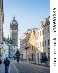 Small photo of WITTENBERG, GERMANY - DECEMBER 2 2016: The main street at Wittenberg, Germany leading to the famous church where Martin Luther nailed the ninety-five theses on the door and sparked the reformation.