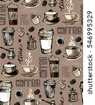 coffee  doodle seamless pattern ... | Shutterstock .eps vector #546995329