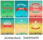 travel brochure with world... | Shutterstock .eps vector #546995695