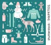 set of unique winter icons...   Shutterstock .eps vector #546997531