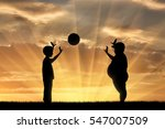 thick and normal boy and play... | Shutterstock . vector #547007509