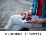 woman texting closeup young